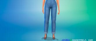 Укороченные джинсы в стиле Maxis Match для Симс 4 – фото 1