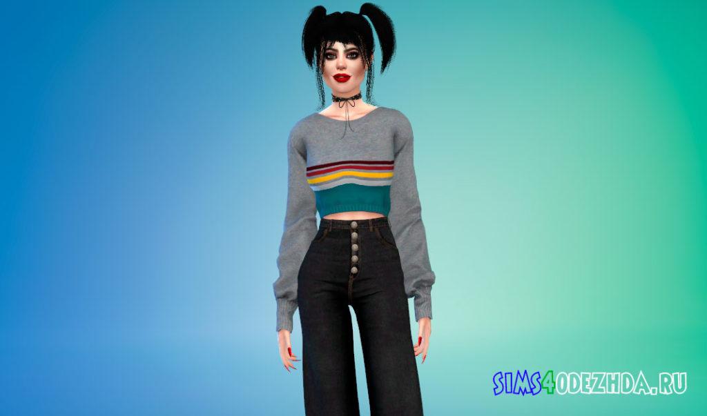 Укороченный свитер для женщин для Симс 4 – фото 1