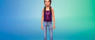 Узкие джинсы для девочек для Симс 4 – фото 1