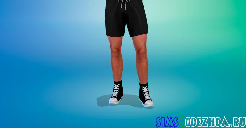 Высокие мужские кеды из лакированной кожи для Симс 4 – фото 1