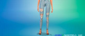 Высокие рваные джинсы-скинни для Симс 4 – фото 1