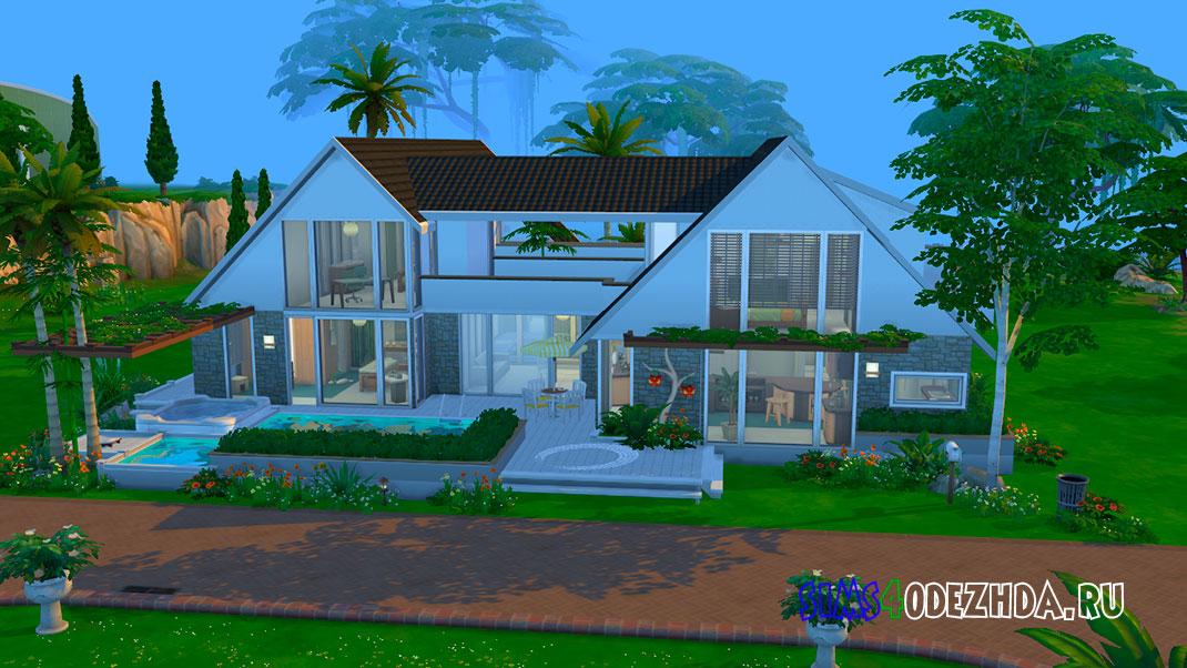 Загородный дом с 2 бассейнами для Симс 4 – фото