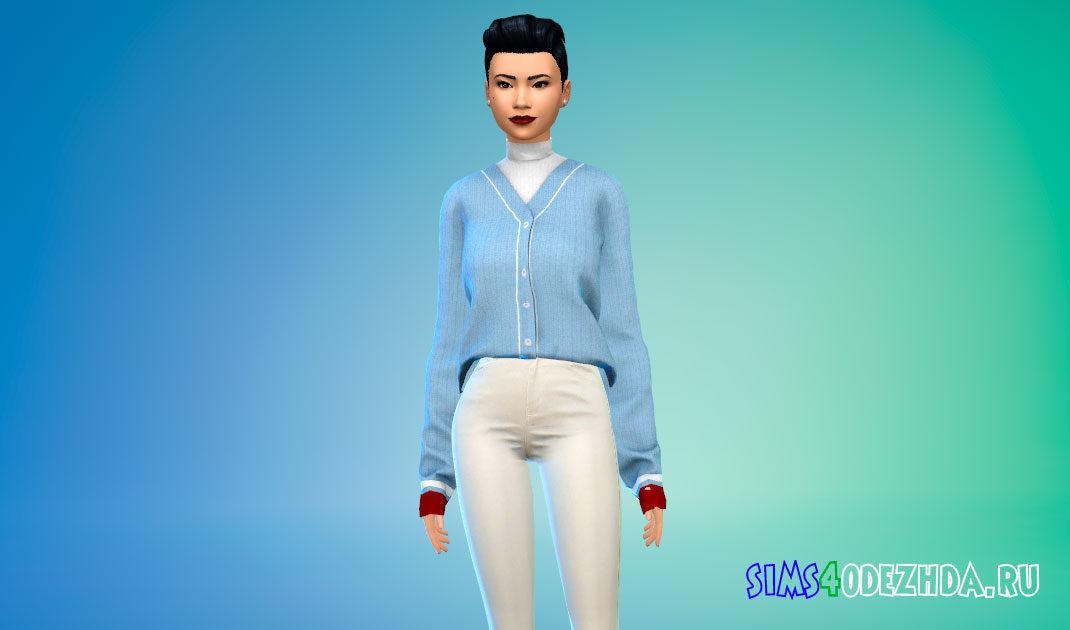 Женский заправленный свитер для Симс 4 – фото 1