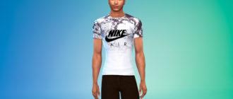 Брендовая спортивная футболка для мужчин для Симс 4 – фото 1