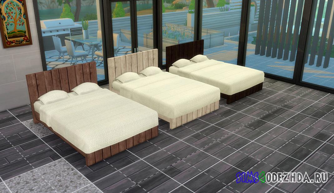 Деревянная двуспальная кровать для Симс 4 – фото