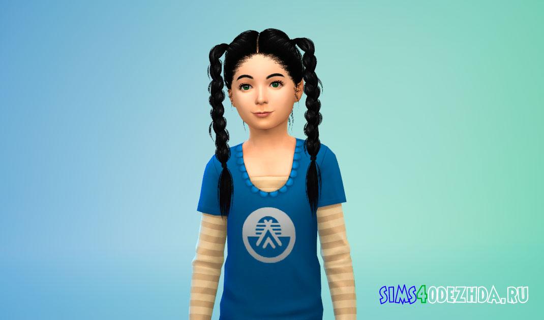 Детская прическа с косичками для Симс 4 – фото 1