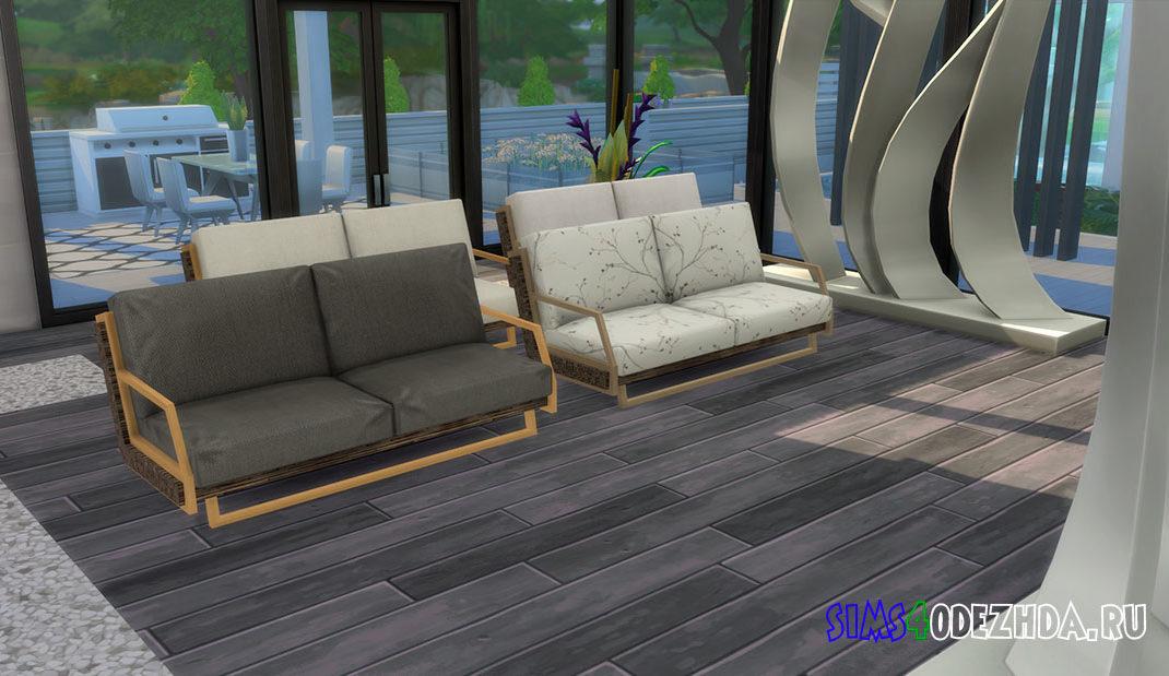 Двухместный диван с деревянным каркасом для Симс 4 – фото