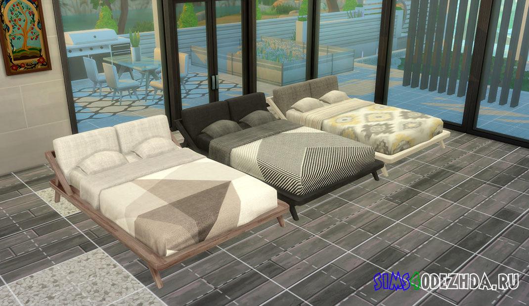 Двуспальная кровать Endeun для Симс 4 – фото