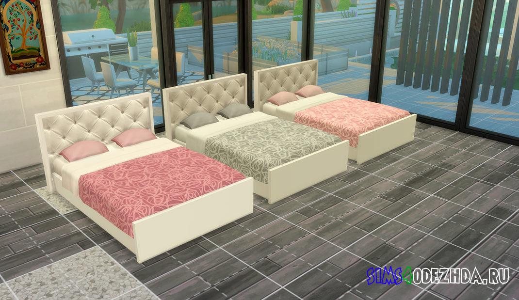 Двуспальная кровать с мягким изголовьем для Симс 4 – фото