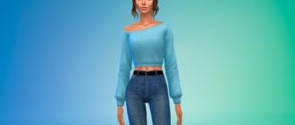 Комфортный укороченный свитер для Симс 4 – фото 1