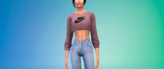 Короткий свитшот Nike для Симс 4 – фото 1
