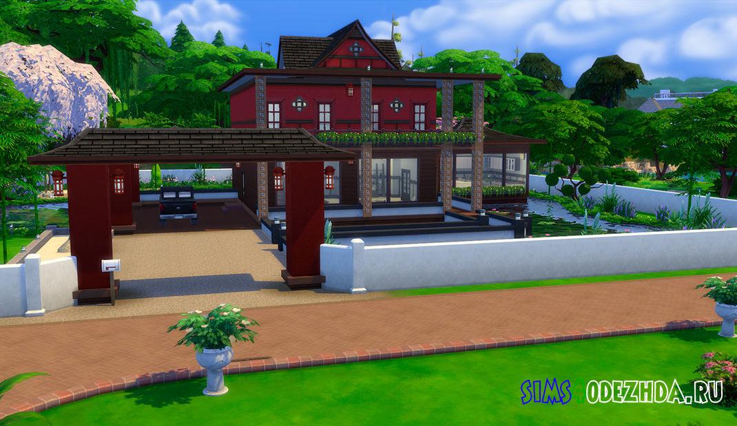 Красивый дом в японском стиле для Симс 4 – фото 1