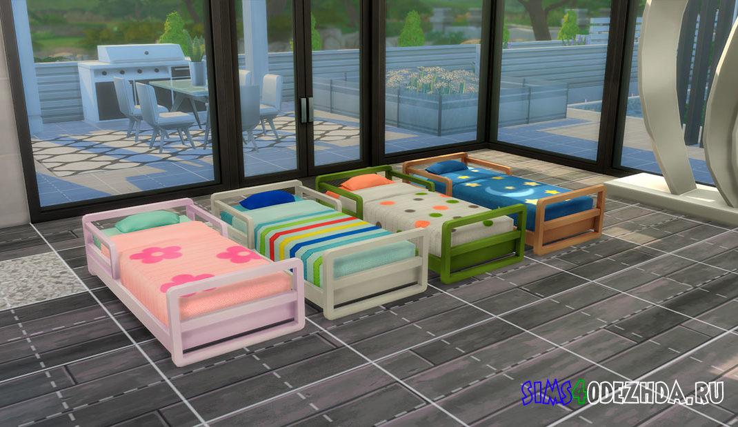 Кровать для малышей в ярких цветах для Симс 4 – фото