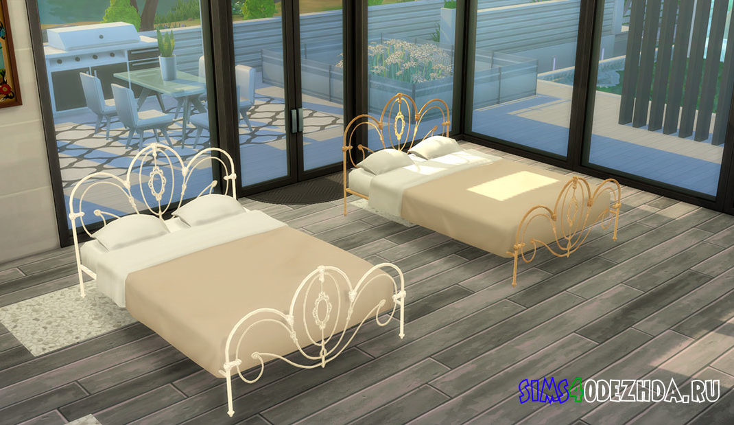 Кровать с металлическим изголовьем для Симс 4 – фото