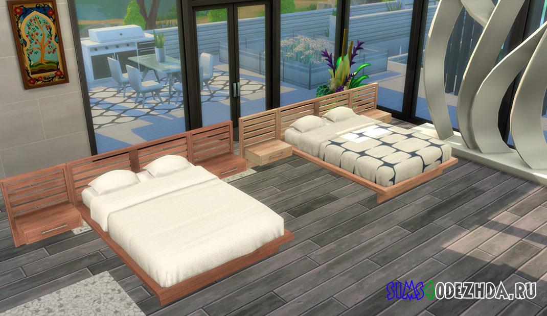 Кровать с полками в изголовье для Симс 4 – фото 1