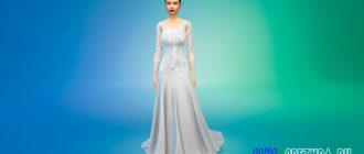 Кружевное свадебное платье с открытой спиной для Симс 4 – фото 1
