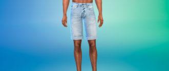 Летние джинсовые шорты для мужчин для Симс 4 – фото 1