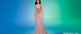 Платье с открытым плечом для Симс 4 – фото 1