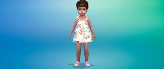 Платье с пуговицами спереди для малышей для Симс 4 – фото 1