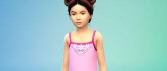 Прическа с двумя пучками для девочек для Симс 4 – фото 1