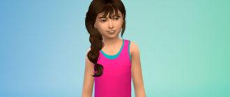 Прическа с косой для девочек для Симс 4 – фото 1