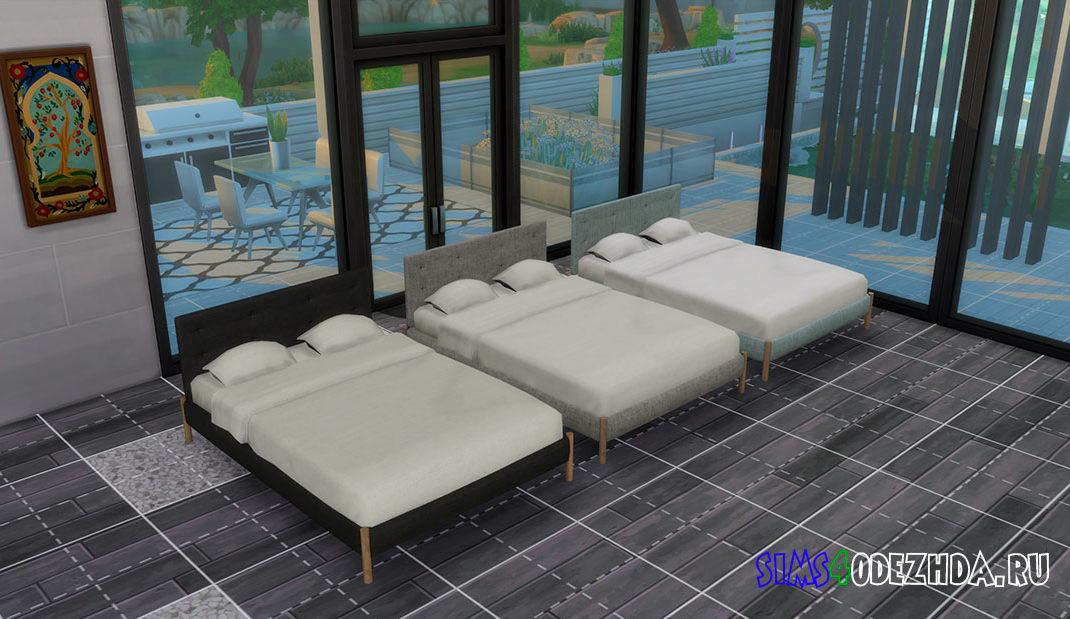 Простая двуспальная кровать для Симс 4 – фото
