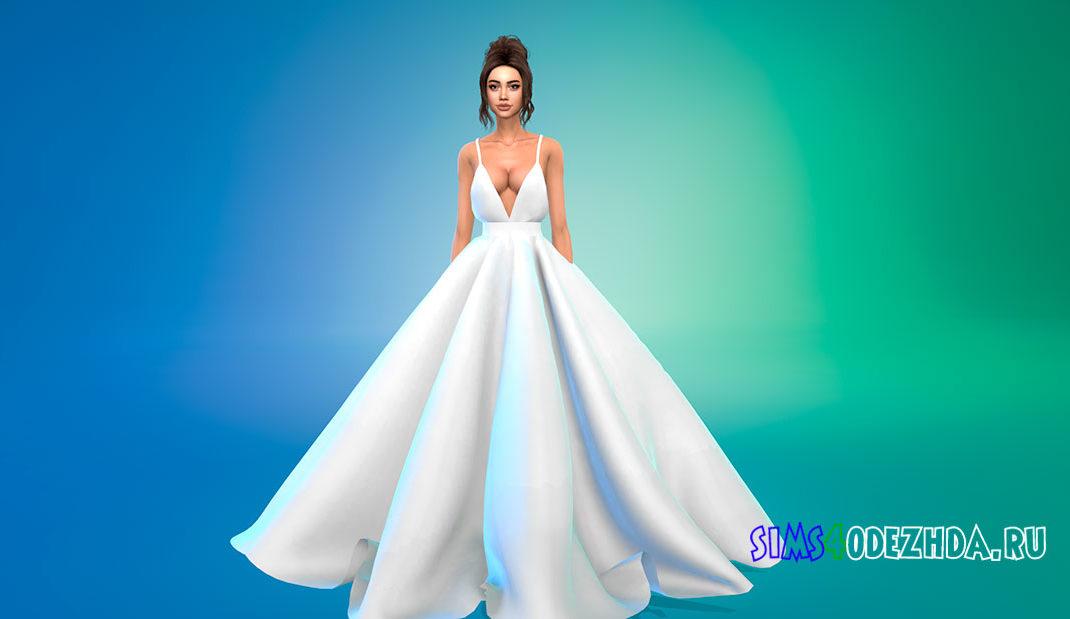 Пышное платье с V-образным вырезом для Симс 4 – фото 1