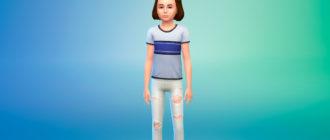 Рваные джинсы с высокой талией для детей для Симс 4 – фото 1