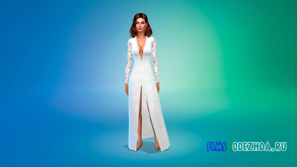 Шелковое кружевное платье с разрезом для Симс 4 – фото 1