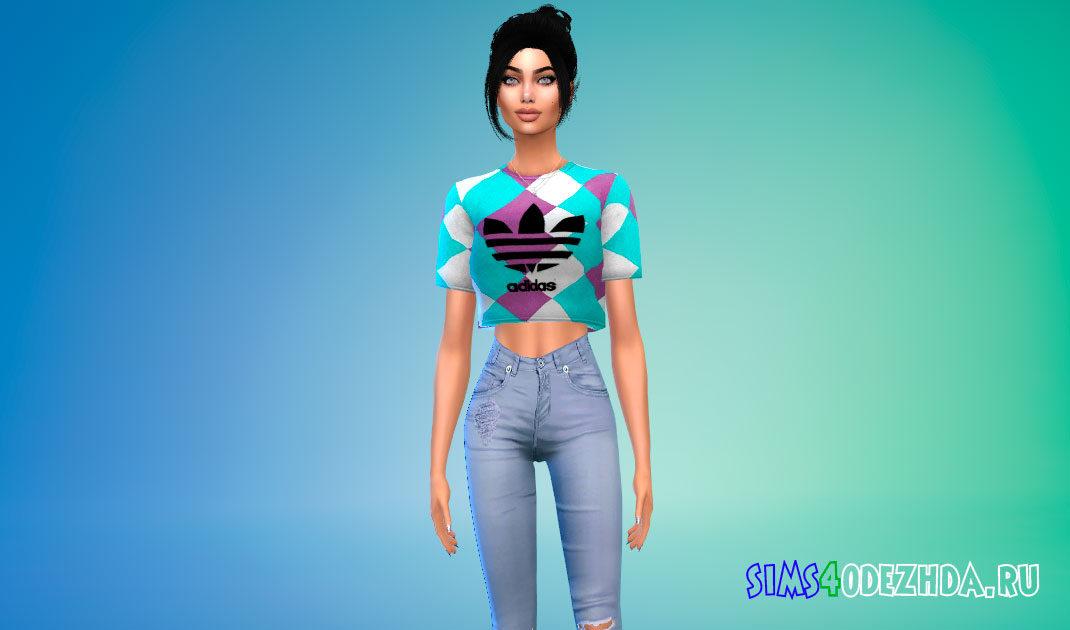 Женская короткая футболка Adidas для Симс 4 – фото 1