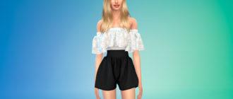 Женский комбинезон-платье с шортами для Симс 4 – фото 1