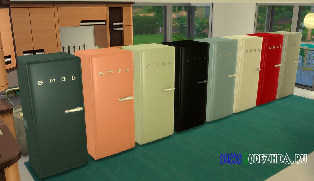 Холодильник SMEGlish с ручкой справа для Симс 4 – фото