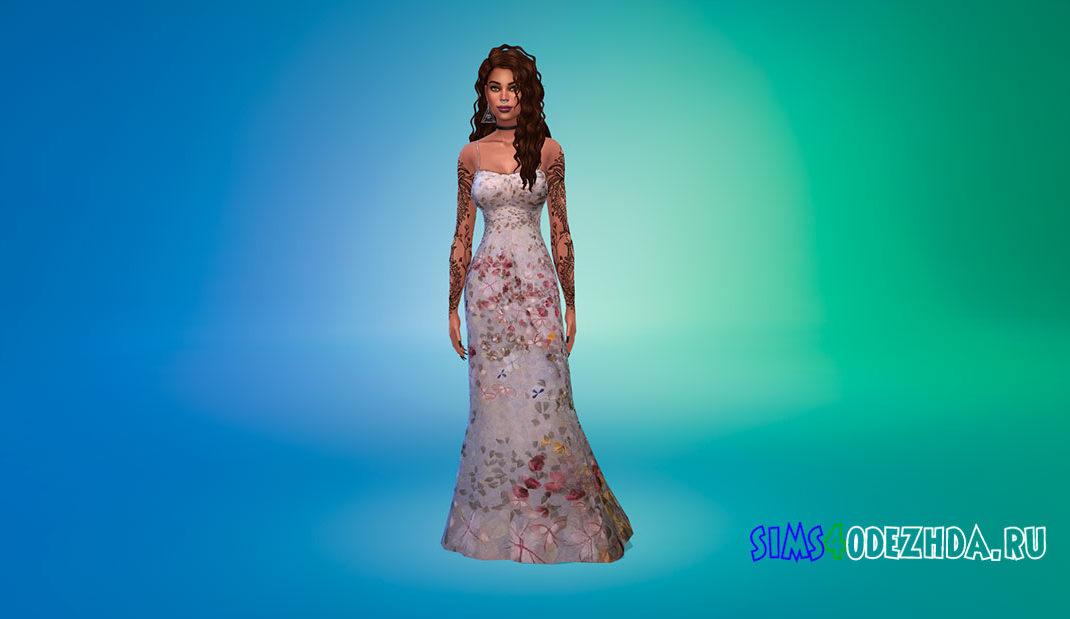Красивое платье с цветочным рисунком для Симс 4 – фото 1