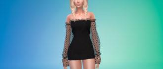 Мини-платье с объемными рукавами для Симс 4 – фото 1