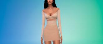 Мини-платье с открытыми плечами для Симс 4 – фото 1
