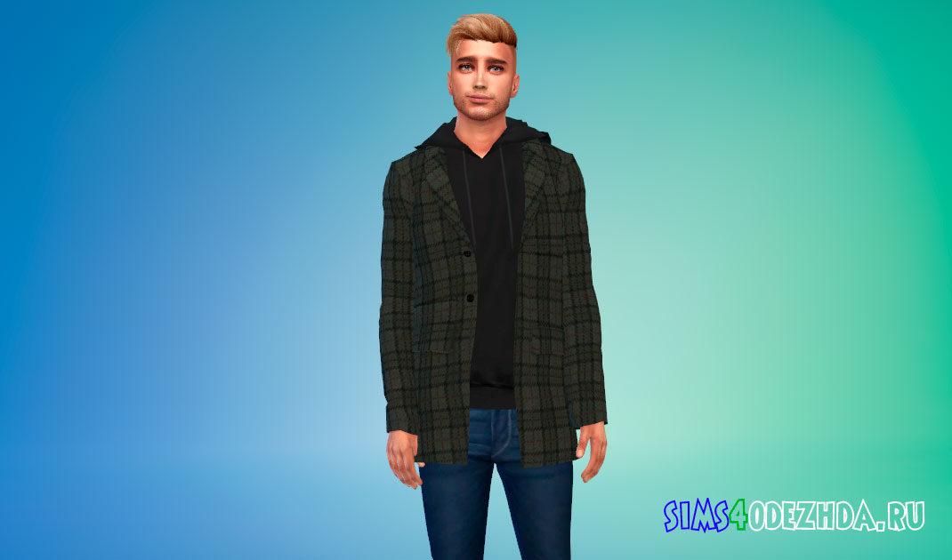 Мужское пальто с толстовкой для Симс 4 – фото 1