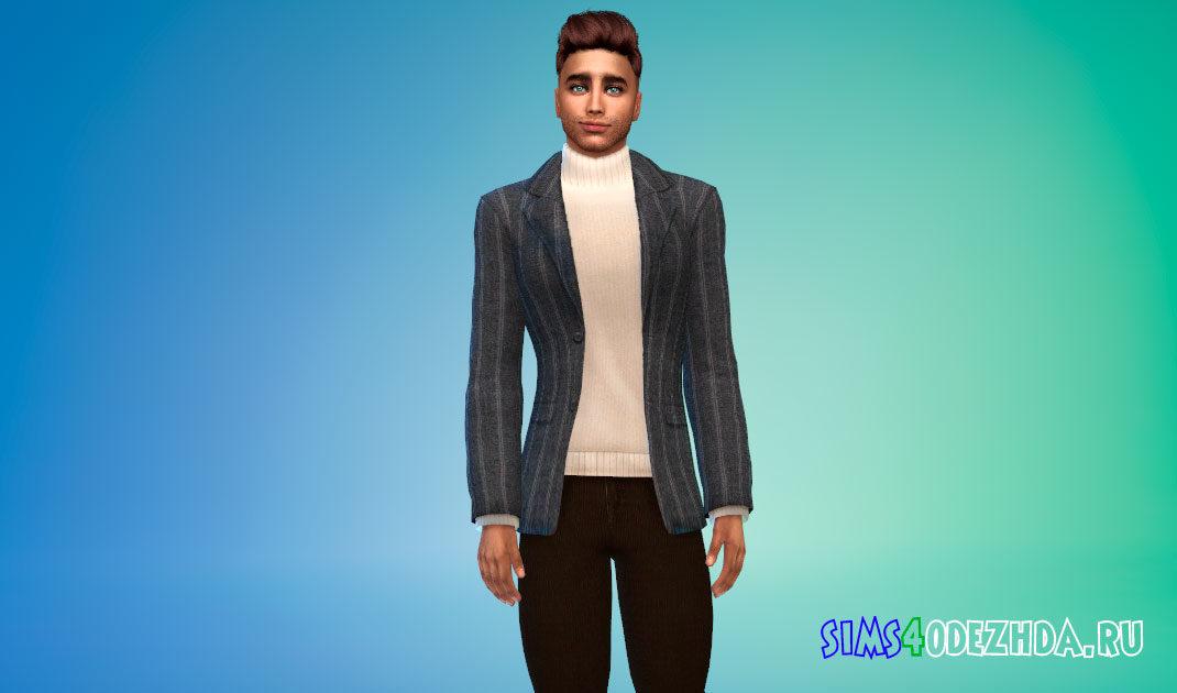 Пиджак с теплым свитером для Симс 4 – фото 1