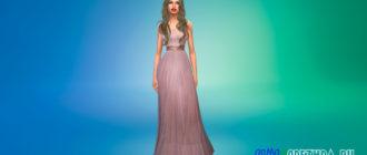 Платье без бретелек с поясом для Симс 4 – фото 1