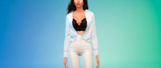 Расстегнутая рубашка с узлом для Симс 4 – фото 1