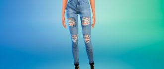 Рваные джинсы Levi's для Симс 4 – фото 1