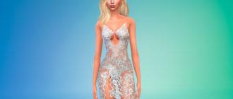 Сексуальное мини-платье из кружева для Симс 4 – фото 1