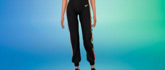 Спортивные штаны с радужными полосками по бокам для Симс 4 – фото 1