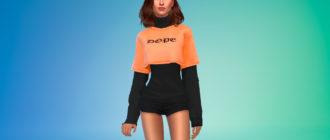 Укороченная футболка поверх свитера для Симс 4 – фото 1