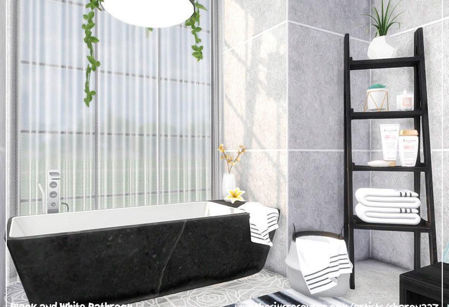 Ванная комната Black and White для Симс 4 – фото 1