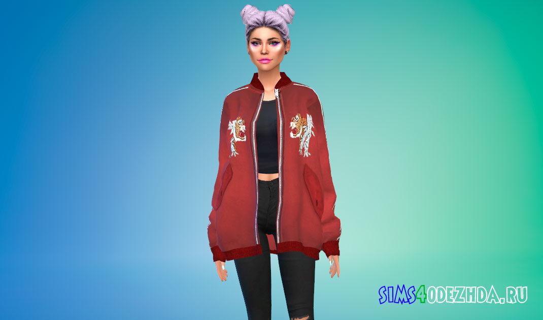 Большая куртка-бомбер для Симс 4 – фото 1