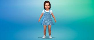 Джинсовая коллекция платьев для малышей для Симс 4 – фото 1