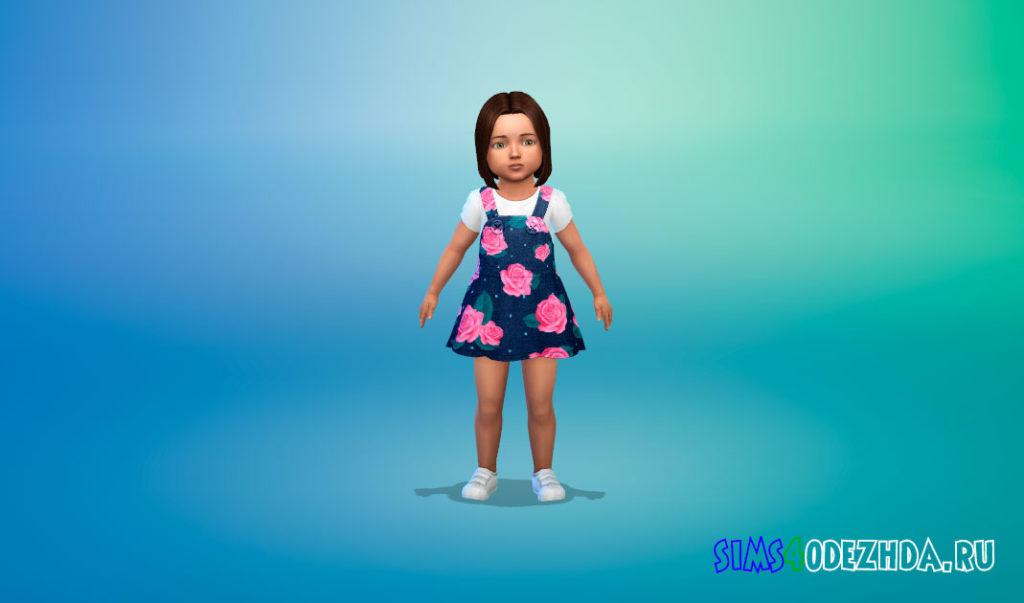 Джинсовая коллекция платьев для малышей для Симс 4 – фото 3