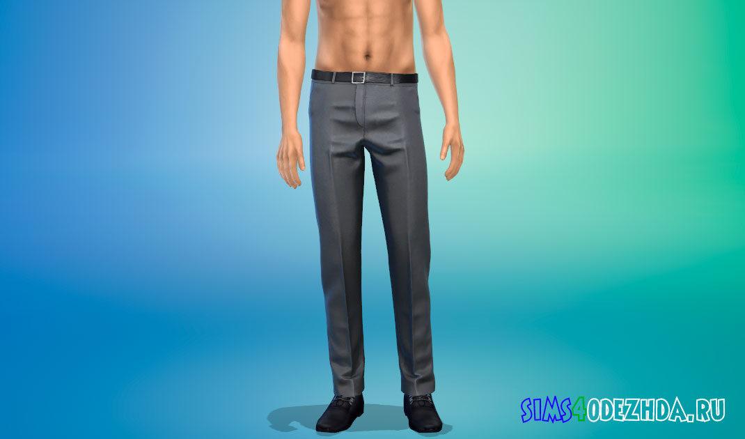 Элегантные брюки с поясом для Симс 4 – фото 1