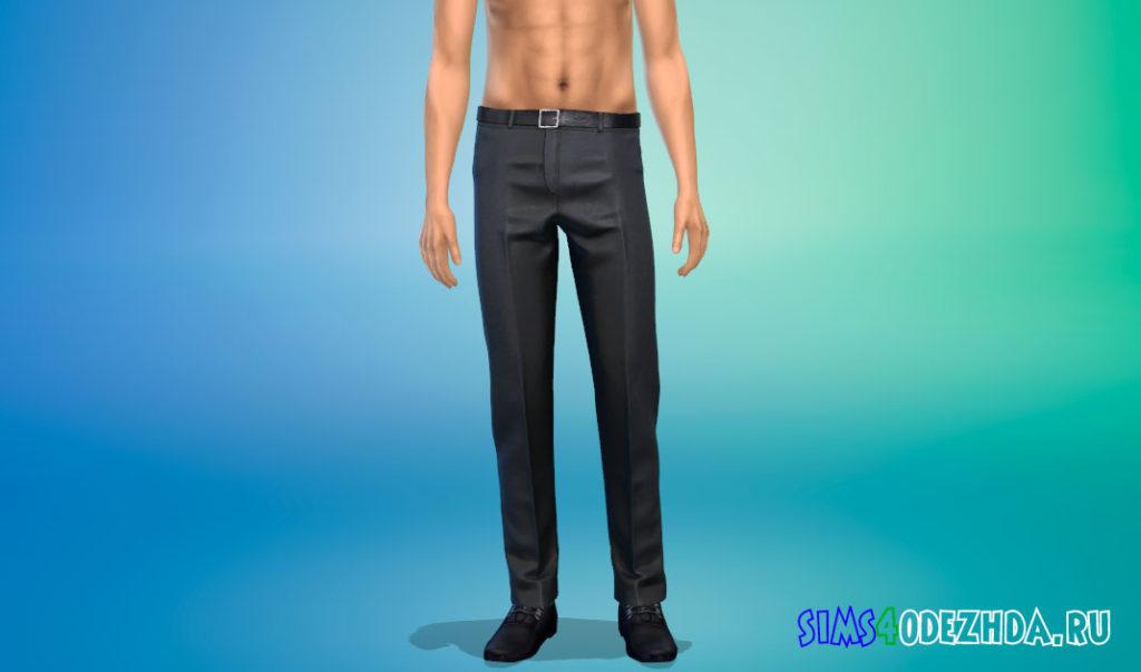 Элегантные брюки с поясом для Симс 4 – фото 3