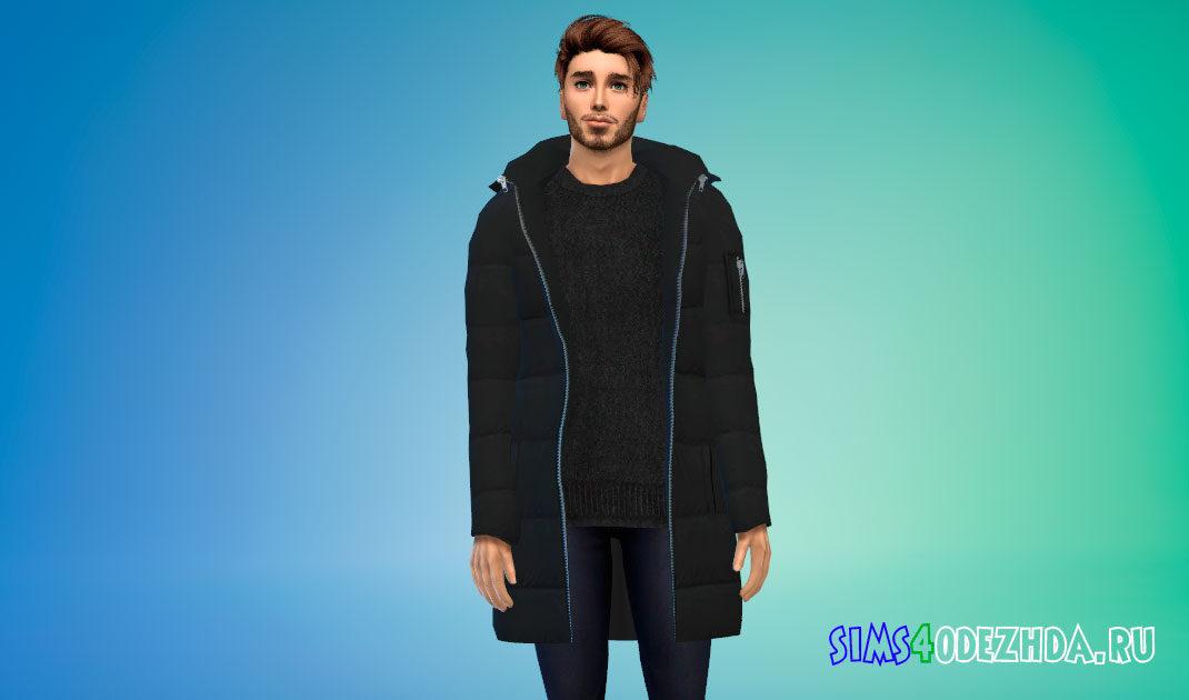 Мужская парка со свитером для Симс 4 – фото 1